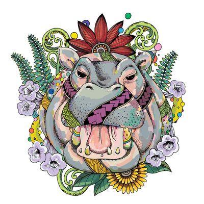 Hippo & Jacaranda Art Print by Noah's ART | Society6