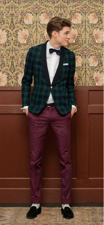 Green plaid jacket goes well with dark red pants. Great holiday style.