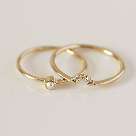 Wedding Set  Pearl Ring & Diamond Crown Ring  14k Gold by artemer, $380.00. Dainty and pretty. love it. Who needs a wedding? I just want to wear it. :D
