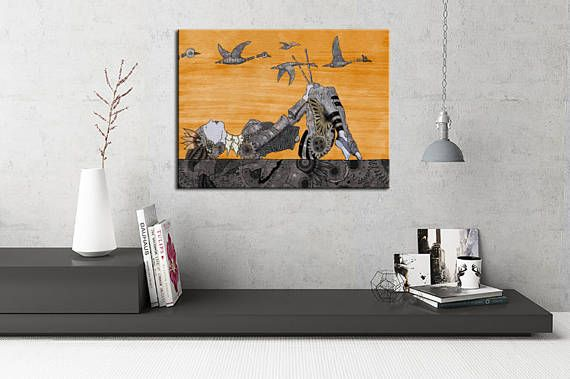 Art prints,digital print art -CYBERSWANS AND STICKS- steampunk home decor, steampunk room