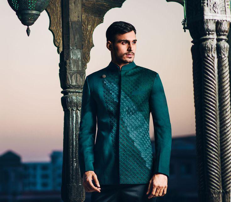 Emerald Green Bandhgala Jacket #sherwani #bandhgala #menswear #Couture #bridal…