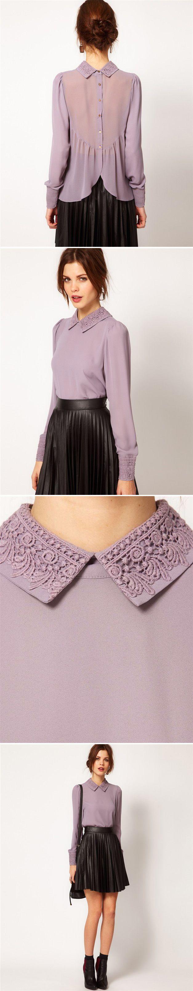 Temperament Chiffon Purple Shirt