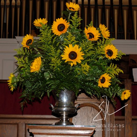 Sunflower Arrangements For Church : Sunflower funeral arrangement in winston salem arcadia