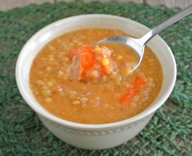 Slow Cooker Red Lentil Soup ~ http://veganinthefreezer.com