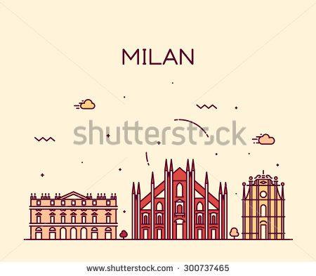 Milan skyline detailed silhouette. Trendy vector illustration, line art style.