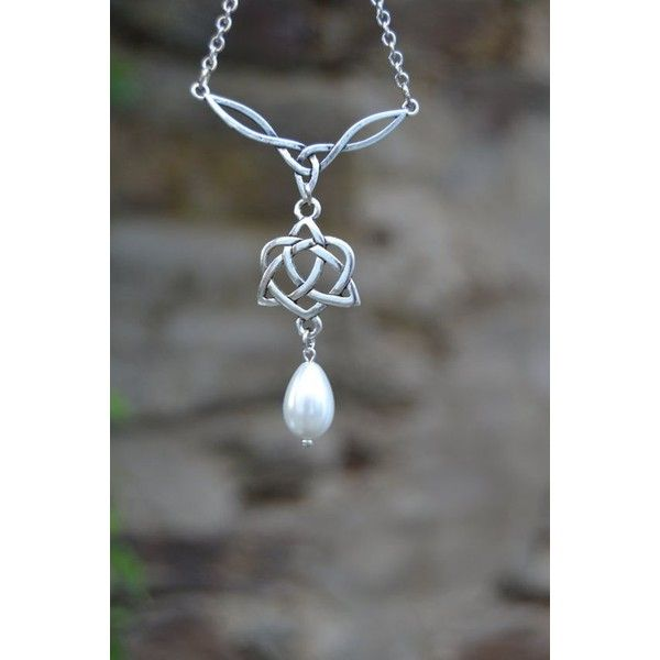 Outlander inspired celtic bridal necklace with pearl drop, celtic... ❤ liked on Polyvore featuring jewelry, necklaces, bridal jewellery, celtic necklace, wedding jewelry, heart necklace and white pearl necklace