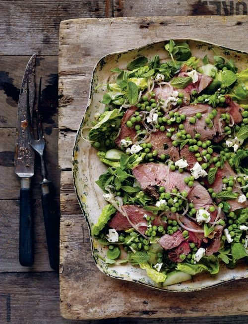 Warm Lamb Salad with a Pea, Mint and Feta Cheese Dressing