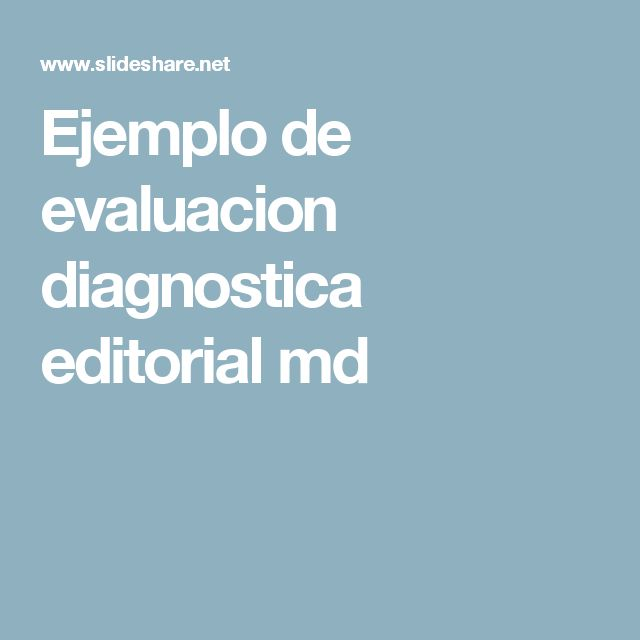 Ejemplo de evaluacion diagnostica editorial md