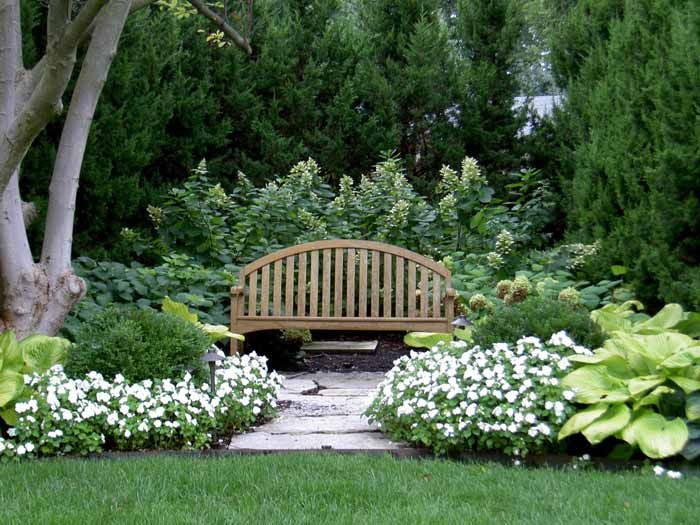 bench with landscaping around