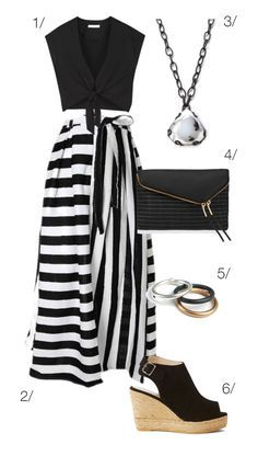 fancy black and white maxi skirt with black top // click through for outfit details