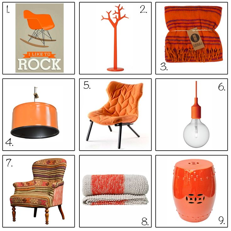 oranje woonaccessoires en meubels voor een koninklijk interieur.