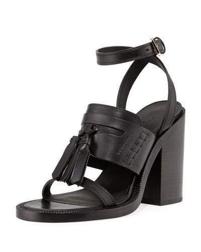 4700d80c5aab Burberry Bethany Tassel Leather Block-Heel Sandal