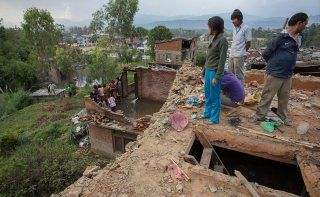 Standing amongst the ruins of their homes in Kavrepalanchok District, #Nepal. Please donate now: https://www.childfund.org.au/appeal/nepal-earthquake-appeal