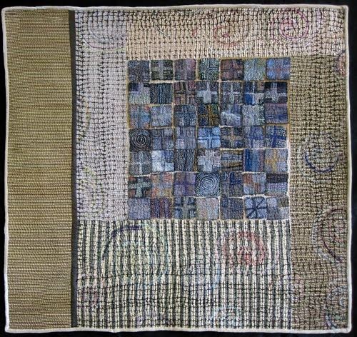 Cross My Heart, layered and stitched silk and linen, silk threads. 2010. - Judy's Journal: hand stitching