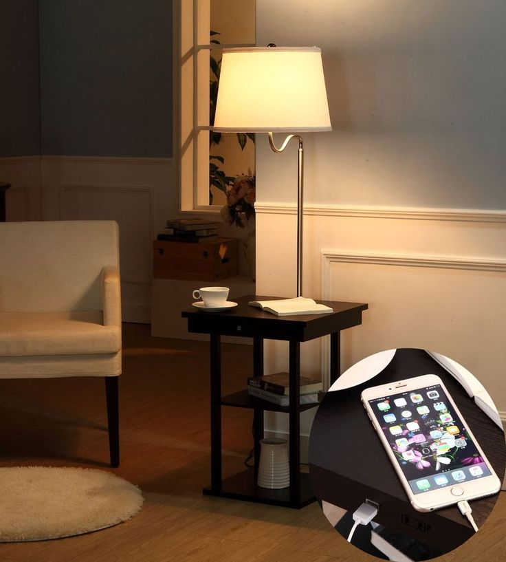 End Table With Lamp Built In Attached With Storage and USB Charging Port Outlet #Brightech