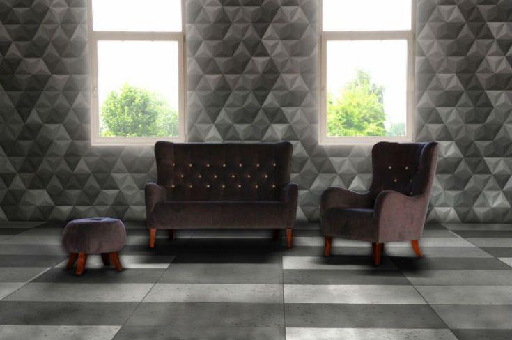 Beton architektoniczny w salonie - płytki piramidki Bettoni