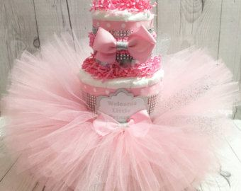 Three Tier Pink TuTu Diaper Cake / Ballerina by TheCarriageShoppe