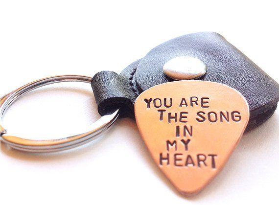 unique mens gift, copper guitar pick keychain –  mens key chain – romantic gift – heart love – boyfr