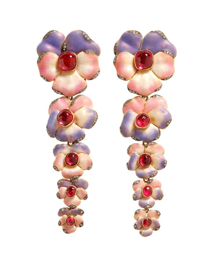Spring Trend 2014 Flowers Flowers Flowers! Gold, Diamond and Ruby Floral Drop Earrings by Lydia Courteille