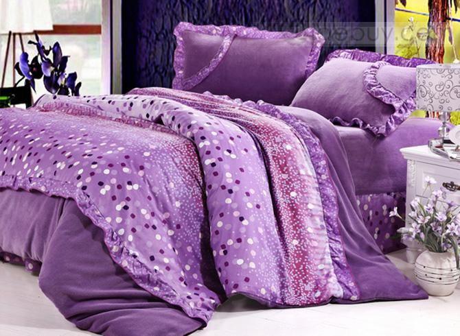 Juego de Edredones con Impresión en Color Púrpura 4 Piezas (Envío Gratuito)