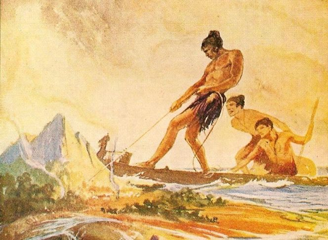 an image of maui and two of his brothers.