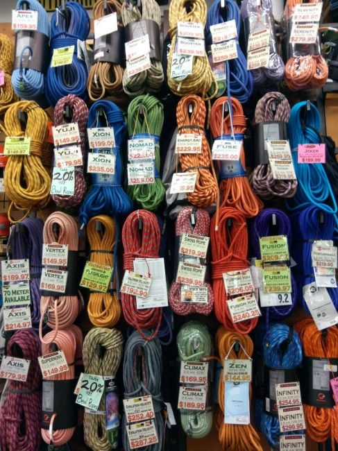how to choose a climbing rope. (different colours of rope can mean different weights and strength of the ropes.) some for belaying and climbing. :)