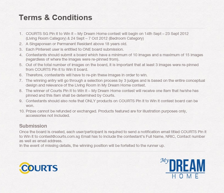 COURTS Pin It to Win It - #MyDreamHome (Bedroom Category) Terms & Conditions
