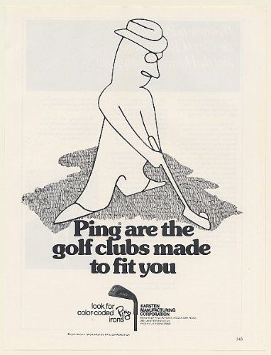 1973 Ping Golf Clubs Made to Fit You Golfer Illustration Karsten Mfg Print Ad (53926)