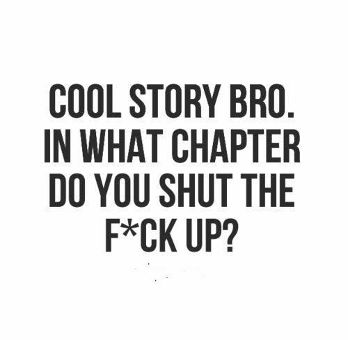 Cool story bro. In what chapter do you shut the f*ck up? #Funny #Insults #Quotes
