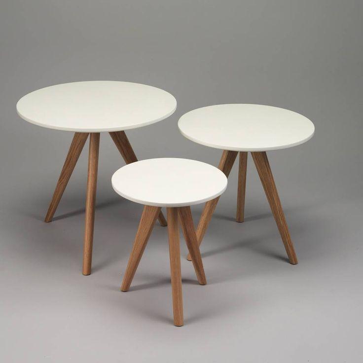 Duverger selection Set 3 bijzettafels rond wit en eikenhout poten