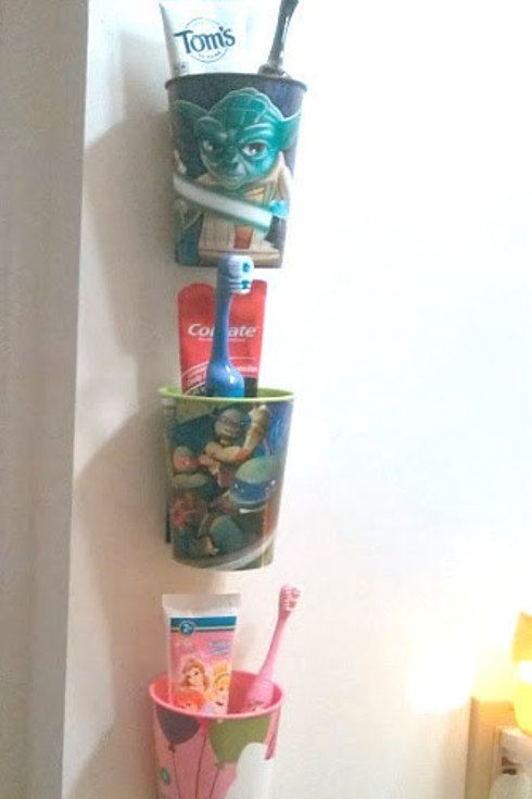 Each kid gets their own Cup for Toothpaste, Toothbrush, Wash Cloth, Floss
