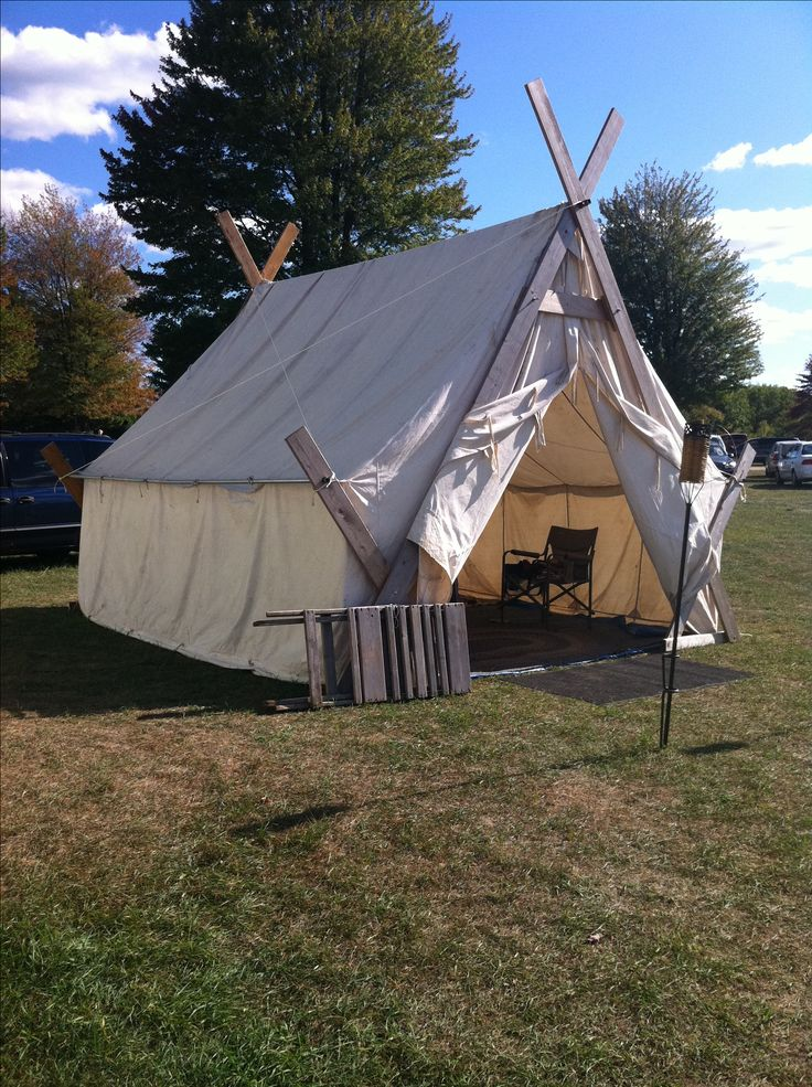 Alternate pole setup for a wall tent; eliminates the center support for the ridgepole and individual poles for the sides.