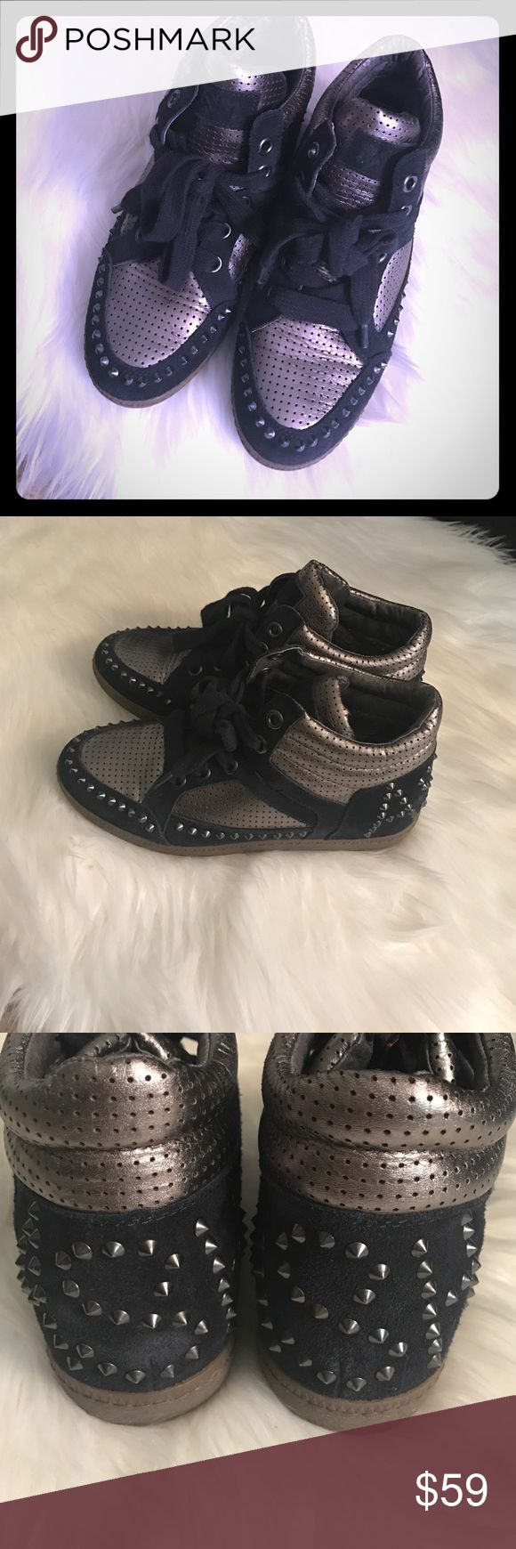 Like new Ash studded sneaker Authentic, extremely gently used, Ash studded sneakers. Black and graphic silver detailing. Super comfortable and fashionable. Ash Shoes Sneakers