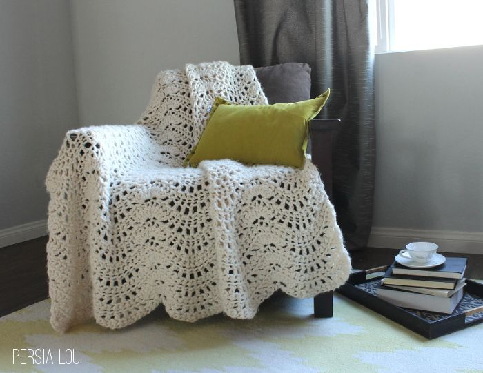 """Chunky Feather and Fan Crochet Throw: Free Pattern by Persia Lou. Great directions including pictures and """"map"""" of pattern. For bulky yarn.  persialou.com"""