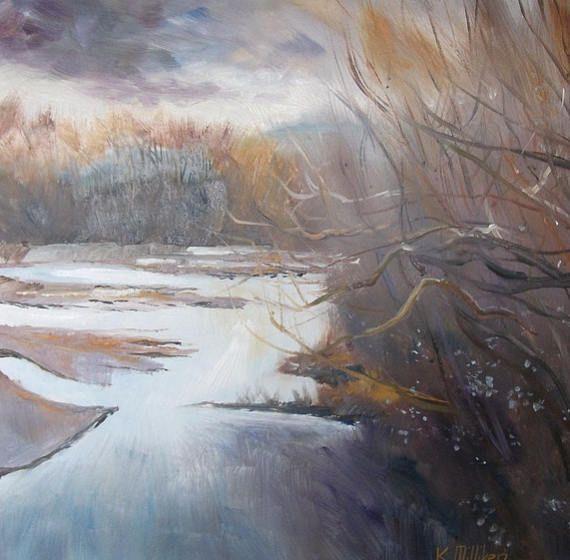 Creek Winter Afternoon.   Oil painting NZ art Pacific art