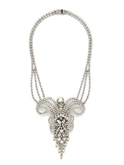 Tom Binns Clear Crystal & Silver Skull Bib Necklace