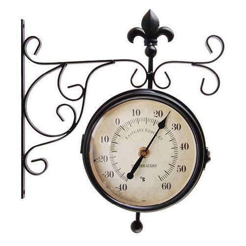 Keep an eye on the time and the  temperature when you are in the garden with this stylish weather-resistant outdoor Clock & Thermometer.  http://www.english-heritageshop.org.uk/garden/garden-accessories/outdoor-hanging-clock-and-thermometer