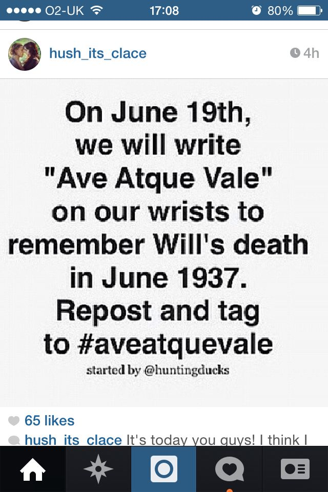 #Aveatquevale... Ohmigod Im tearing up. Will...Will... He's in Heaven at least. He's happy.