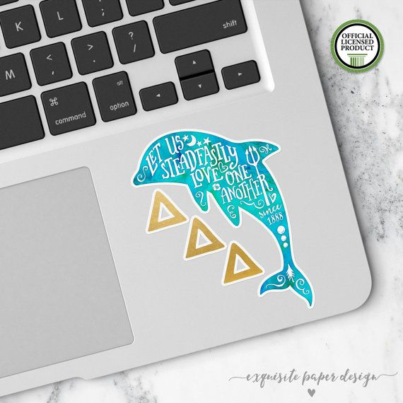 Delta Delta Delta | Small Dolphin Tri-Delta Decal | Sorority Big Little Reveal Gift | Official Licensed Product | TRD001