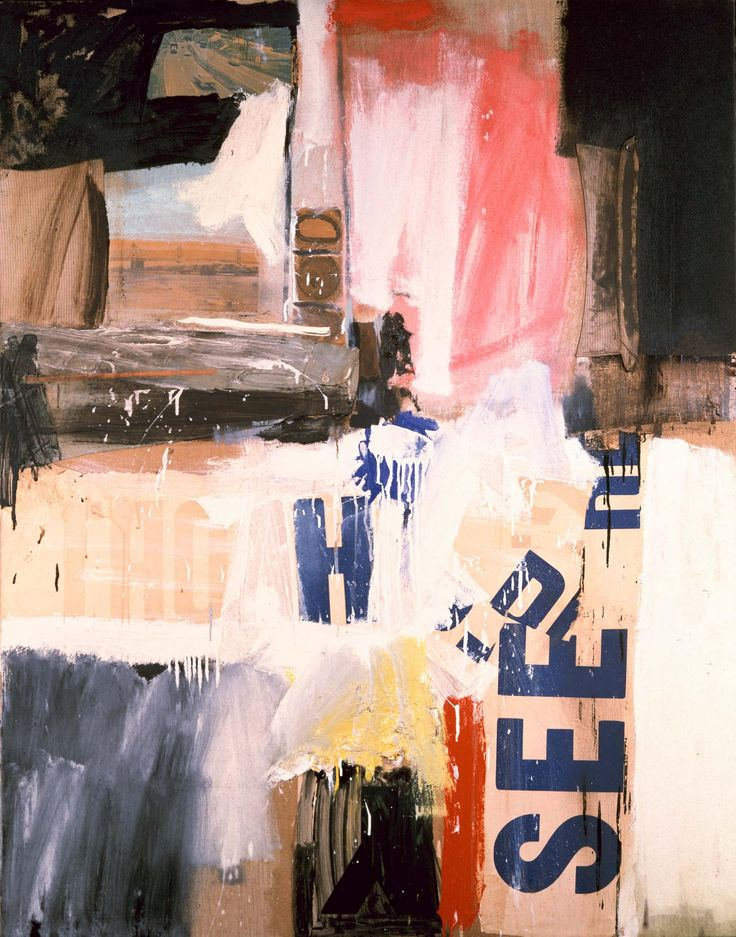Robert Rauschenberg - 1959, Backwash. Combine: oil, printed paper, printed reproductions and fabric on canvas (156.2 x 122.2 cm)