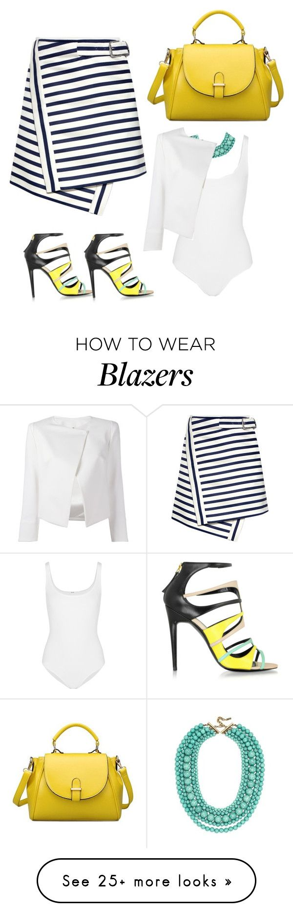"""""""yellow"""" by loversin on Polyvore featuring Carven, Pierre Hardy, Wolford, BaubleBar and Plein Sud Jeanius"""
