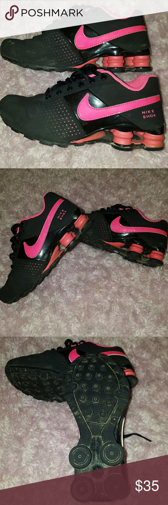 Hot Pink & Black Nike SHOX LIKE NEW Size youth 4Y Nike SHOX Hot Pink and Black. Velvety feel black part. Only wore 3 times. Will need minor wiping, but colors are vibrant. Great for Back to School. Nike Shoes Sneakers