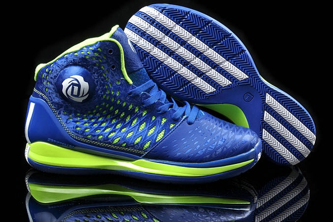 Derrick Rose 2013 AdiZero Rose 3.5 Spider Man Game Royal Blue lime Green for sale