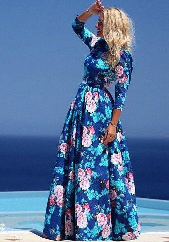 Blue Floral Print 3/4 Sleeve Kaftan Abaya Jilbab Islamic Muslim Cocktail Bohemian Maxi Dress - Fashion Show - Trends