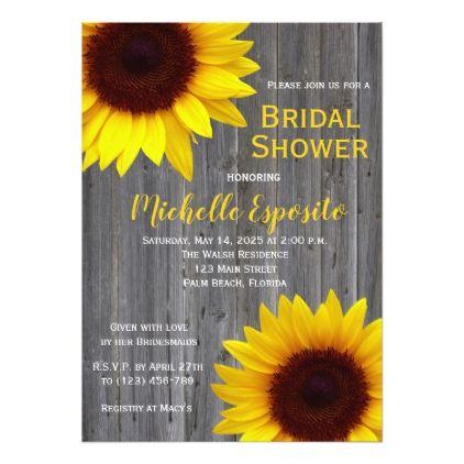 Country Rustic Sunflower Bridal Shower Invitation - bridal shower gifts ideas wedding bride
