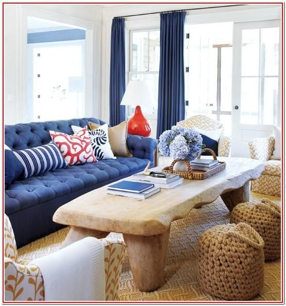 Living Room Navy Coral White Tan Decor In 2020 Blue Couch Living Living Room Red Blue Living Room #tan #and #navy #living #room