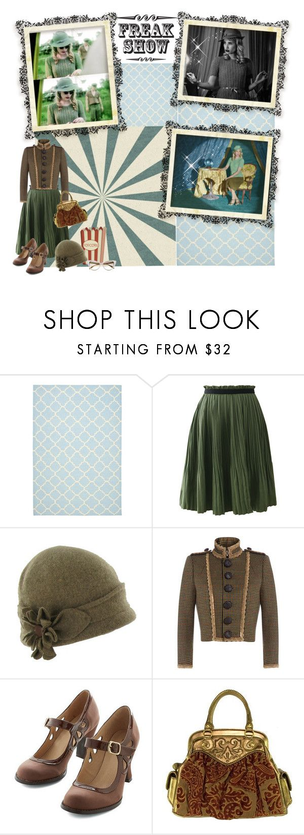 """""""Freak Show character Maggie Esmerelda"""" by renete ❤ liked on Polyvore featuring Safavieh, Chicwish, Betmar, Dsquared2, Isabella Fiore and Tom Ford"""