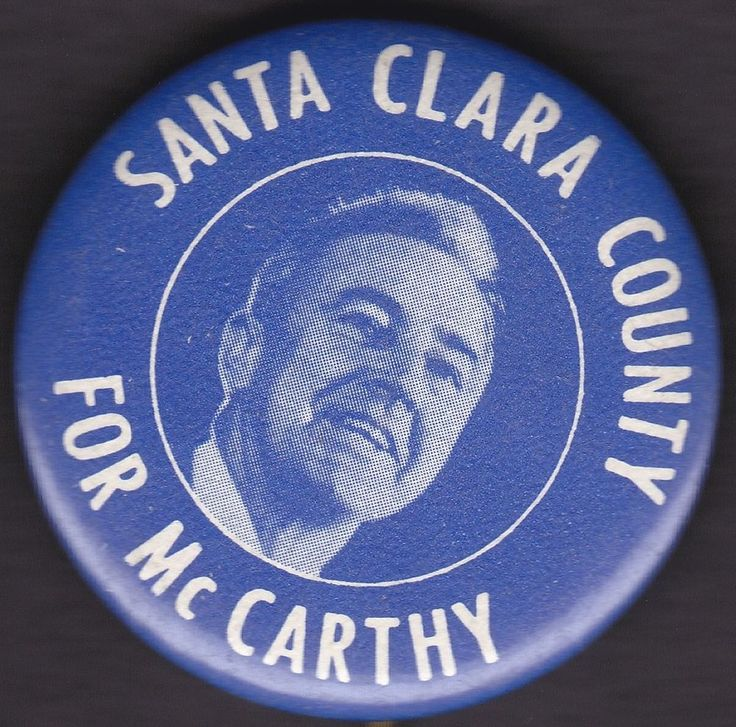 1968 SANTA CLARA COUNTY California EUGENE McCARTHY Political Button Pinback Pin