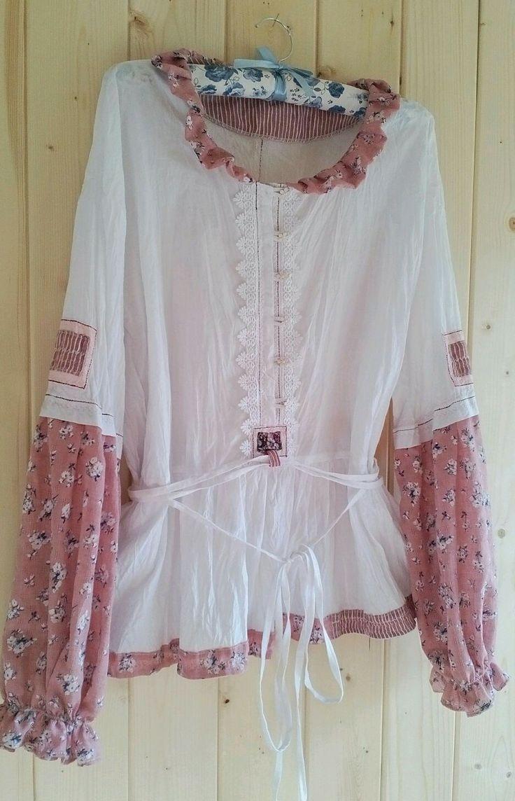 """Купить Белая блуза туника. """"Прованс"""" - одежда в стиле бохо, одежда в деревенском стиле"""
