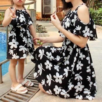 Mommy and Me Pretty Flower Pattern Ruffle Slip Dress